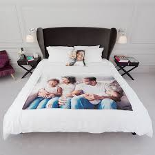 custom printed duvet covers uk personalised bed sheets with quilt and pillows design your own bedding for unique style family photo blanket on bed