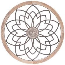 flower with medallion circle metal wall