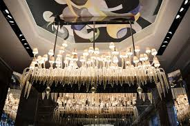 the iconic chandelier of the bar les heures