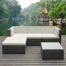 ikayaa pcs pe rattan patio garden furniture sofa set outdoor