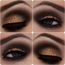 gold glitter black smokey eye