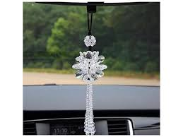 crystal flower car hanging ornament car rear view mirror pendant car accessories white