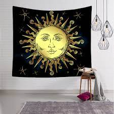 moon psychedelic small wall tapestry