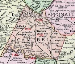 Campbell County Virginia Map 1911 Rand Mcnally