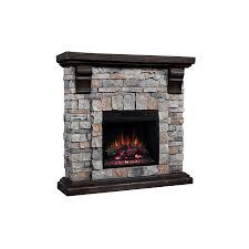 40 pioneer brushed dark pine stone electric fireplace