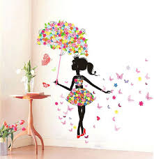 wall stickers decoration for home erfly girl removable wall art sticker vinyl decal room home mural wall stickers decoration for home