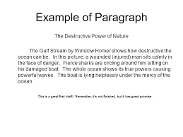 descriptive writing using the paintings of winslow homer ppt  example of paragraph the destructive power of nature the gulf stream by winslow homer shows how