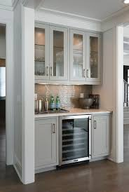 glass cabinets for living room. contemporary living room bar nook is filled with gray glass front upper cabinets and shaker for f