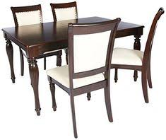 home source h 6085 5 5 piece dining set table 4 chairs cherry ivory fabric
