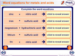 word equations for metals and acids