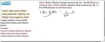 Direct Quote Magnificent JAIIB CAIIB Foreign Exchange Forex Direct Indirect Quotes By Vishal