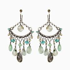 custom made sterling silver chandelier earrings aqua blue and sea foam green gemstones
