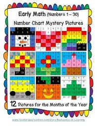 Early Math Preschool Kindergarten Number Chart Mystery Pictures Numbers 1 30