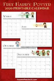 Calendars 2020 Free Free Harry Potter 2020 Printable Calendar Housewife Eclectic