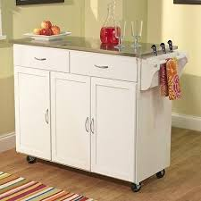 kitchen island mobile: mobile kitchen island cart white wood portable drawers stainless steel storage whats it worth