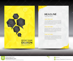 Leaflet Design Portfolio Yellow Cover Annual Report Template Polygon Background