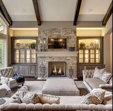 beautiful decor and stone fireplace