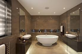 Contemporary designed bathroom with shimmering brown derby colored wall and  tile vanities. White ceiling and