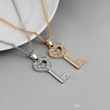 heart diamond key pendant necklace
