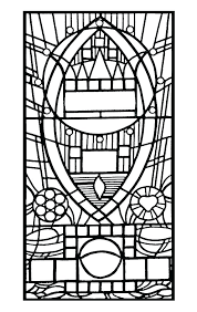 Stained Glass Coloring Pages Religious Window Gallery Page Simple