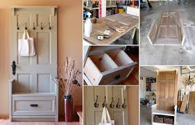 turn an old door into an entry bench