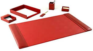 bonded leather desk set 6 piece pink. Leather Desk Set (6 Piece With 25.5 X 17.25 Pad - Red) Bonded Leather Desk Set 6 Piece Pink T