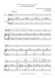 bassoon sheet music carol of the bells bassoon sheet music by mykola dmytrovich