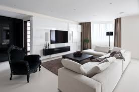 modern apartment living room design. The Unique Contemporary Apartment Decorating Ideas Gallery Design Tv Brown Rugs White Sofa Black Chair Modern Living Room N