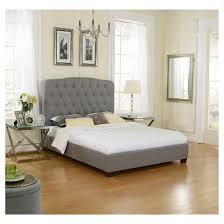 Majore Tufted Upholstered Linen Platform Bed  Gray Finish Eco Linen Platform Bed