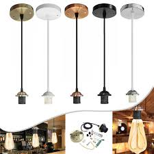 details about flex e27 pendant light fabric rose ceiling lampholder fitting pvc lighting