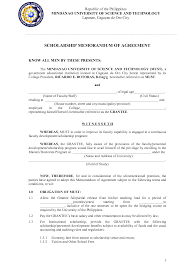 Scholarship Contract Template Best Photos of Memorandum Of Agreement Sample DV Sample Memorandum 1