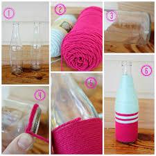 Yarn Wrapped Glass Bottles & Valentine's Mantel