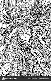 Fantasie Meisje Haar Kleurplaat Hand Getrokken Doodle Zentangle