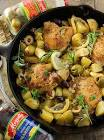 baked chicken with lemon  potato and olives