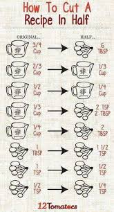 Recipe Chart Facebook Handy Chart To Cut Recipe Proportions In Half Cooking Up A
