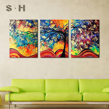 SIM <b>3Pcs</b> Oil Painting Tree Home Decoration <b>No Frame</b> Art Pic ...