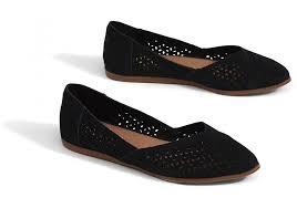 black toms black perforated suede womens jutti flats