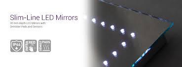 Ultra Slim LED Mirrors with Sensors & Demisted Pads Illuminated