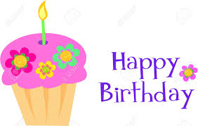 Happy Birthday Flower Cupcake Royalty Free Cliparts Vectors And
