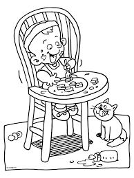 Kleurplaat Eten En Drinken In Een Kinderstoel Kleurplatennl