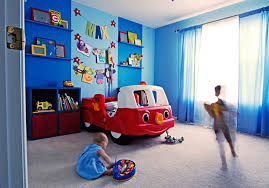 kids rooms soft blue paint wall white ceiling modern boys room decorating ideas with red blue themed boy kids bedroom