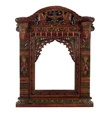 indian style traditional wall art jharokha ethnic wooden dark brown gateway rusted carved object furniture interior