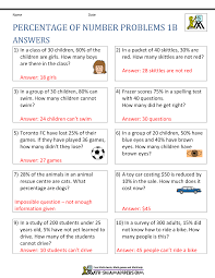 percentage word problems percentage of number problems 1b · answers