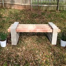 concrete or wood garden bench ideas