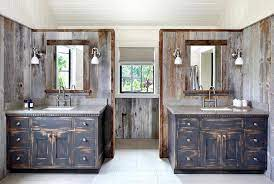 Rustic Country Bathroom With Black Distressed Washstands Country Bathroom
