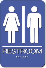 Unisex Restroom Sign Braille Blue Acrylic EP40 Mesmerizing Unisex Bathroom Signs