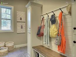 decorating alcoves in wall awesome shiplap wall with hooks in mudroom more rustic bench with stain