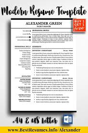 Modern Resume Templates Green Resume Template Alexander Green One Page Resume Templates Resume
