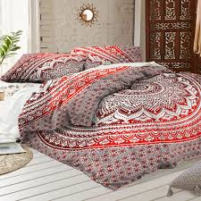 details about indian duvet cover red ombre mandala hippie bohemian queen quilt blanket cover