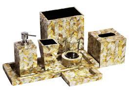 Handmade Bathroom Accessories Wholesale Handmade Yellow Silver Color Set Of 7 Bathroom
